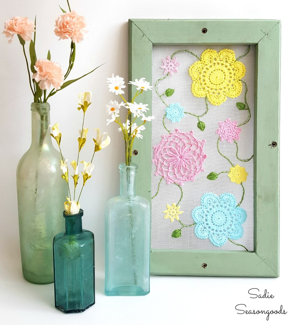 Antique_salvaged_framed_screenpanel_repurposed_upcycled_with_vintage_crochet_doilies_into_DIY_cottage_style_Spring_decor_by_Sadie_Seasongoods