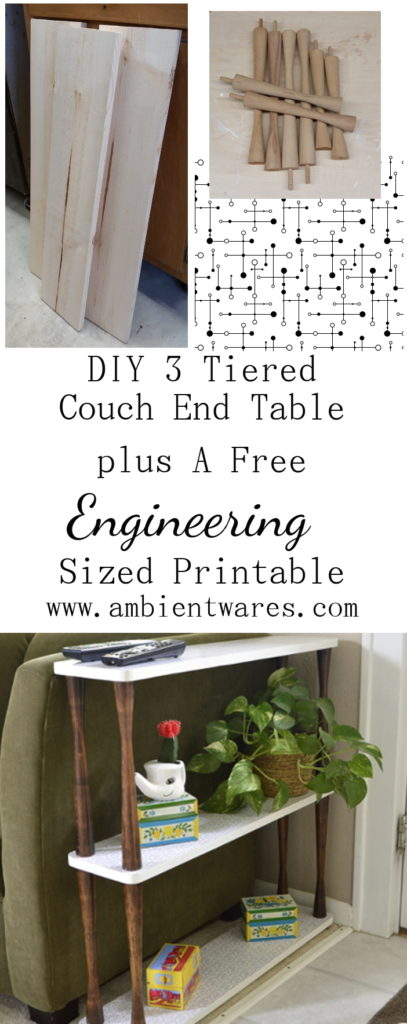 Making a custom sized side table for our awkward space next to the couch and behind the front door - DIY 3 Tiered Couch End Table Plus A Free Engineering Sized Printable - www.ambientwares.com