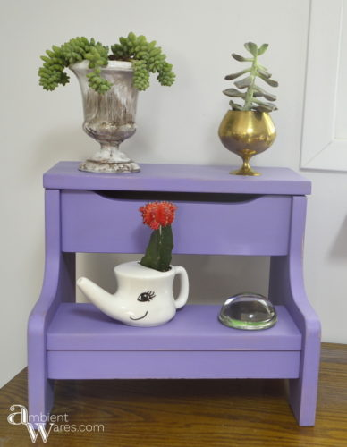 Repurposed Step Stool Makeover Into A Plant Stand ambientwares.com