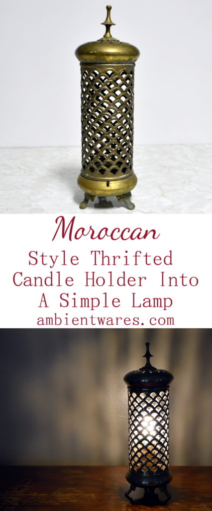 You'll never look at a candle holder the same way again! See how they transformed this Moroccan styled candle holder into a very simple lamp!