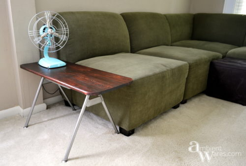Don't throw away that disgusting plastic chair just yet. Repurpose the metal legs and DIY your own industrial style side table! For this and more unique ideas, visit AmbientWares.com