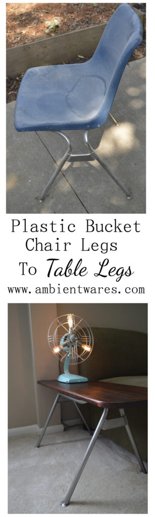 Don't throw away that disgusing old plastic chair! Salvage the metal legs and you can make an industrial style side table! ambientwares.com