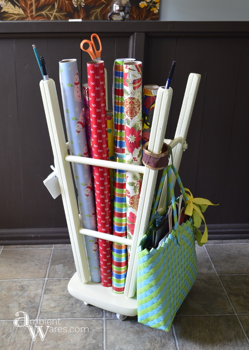 Repurposed_Upside_Down_Stool_Gift_Wrapping_Paper_Ribbon_Station_Finished_Project_1_ambientwares.com