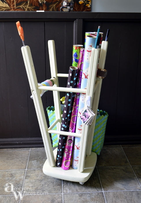 Repurposed_Upside_Down_Stool_Gift_Wrapping_Paper_Ribbon_Station_Finished_Project_2_ambientwares.com