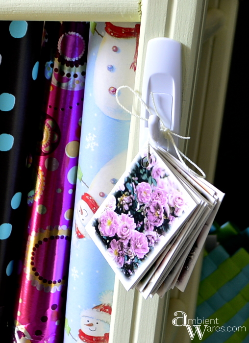 Repurposed_Upside_Down_Stool_Gift_Wrapping_Paper_Ribbon_Station_Finished_Project_3_ambientwares.com