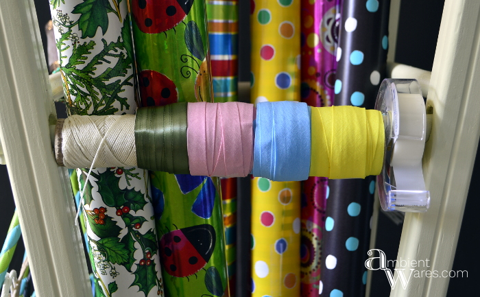 Repurposed_Upside_Down_Stool_Gift_Wrapping_Paper_Ribbon_Station_Finished_Project_6_ambientwares.com