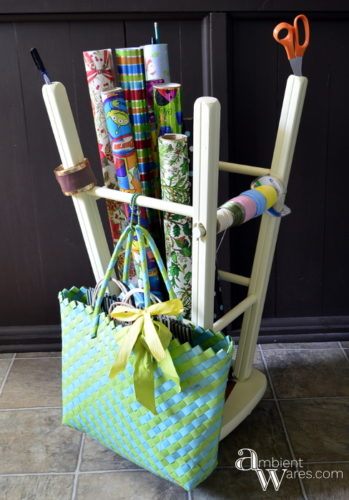 Repurposed_Upside_Down_Stool_Gift_Wrapping_Paper_Ribbon_Station_Finished_Project_ambientwares.com