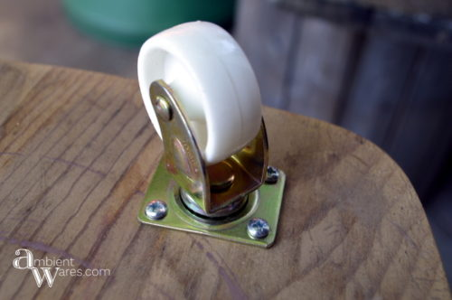 Repurposed_Upside_Down_Stool_Gift_Wrapping_Paper_Ribbon_Station_Installed_Casters_ambientwares.com