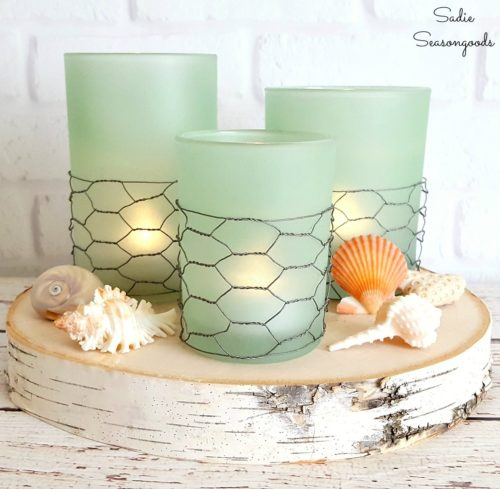 Funtastic-Friday-137_Most-Viewed_coastal_farmhouse_style_seaglass_candles_using_repurposed_thrift_store_glass_candle_holders_by_Sadie_Seasongoods