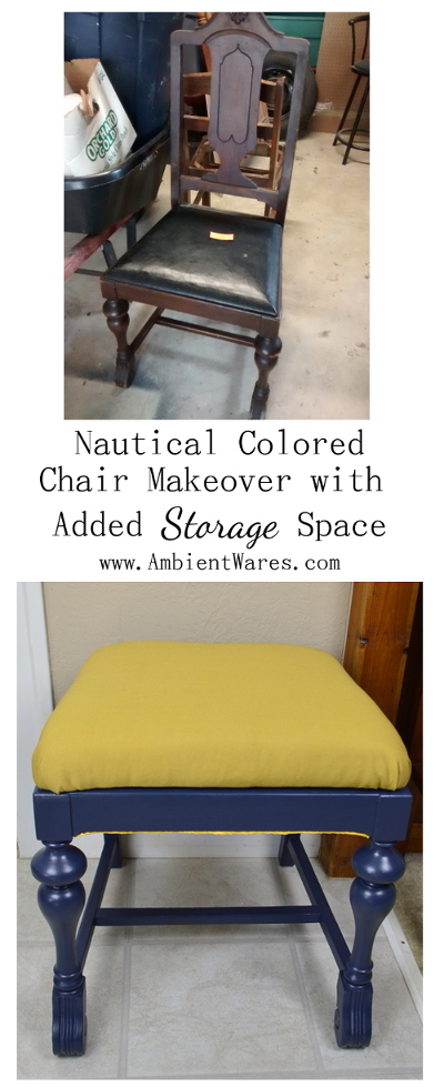 What a clever storage idea using an old chair! Great if you're looking for inspiration on storage for small spaces. The colors of navy and blue make for a pretty piece of nautical home decor too! www.AmbientWares.com