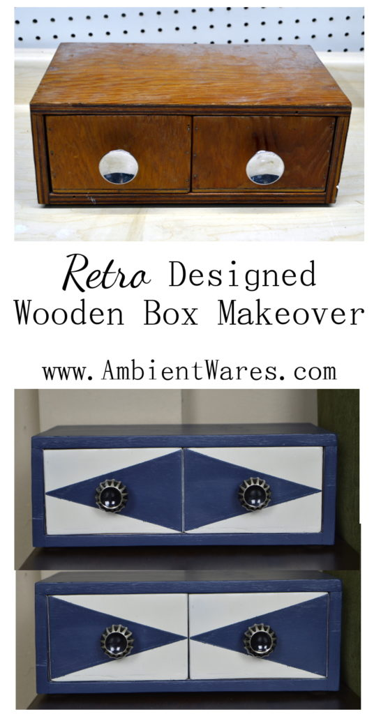 All this little 2 drawer wooden box needed was a retro design makeover. It now has the perfect retro look and was such an easy diy project! www.AmbientWares.com