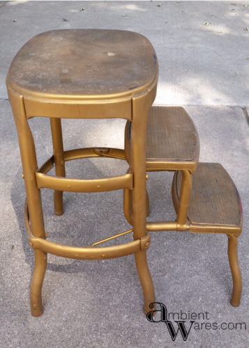 This Vintage Cosco Stool got the most beautiful modern farmhouse styled makeover! The addition of the wooden seat makes it a trendy piece of furniture! https://ambientwares.com/4627/vintage-cosco-step-stool-modern-farmhouse-styled-makeover
