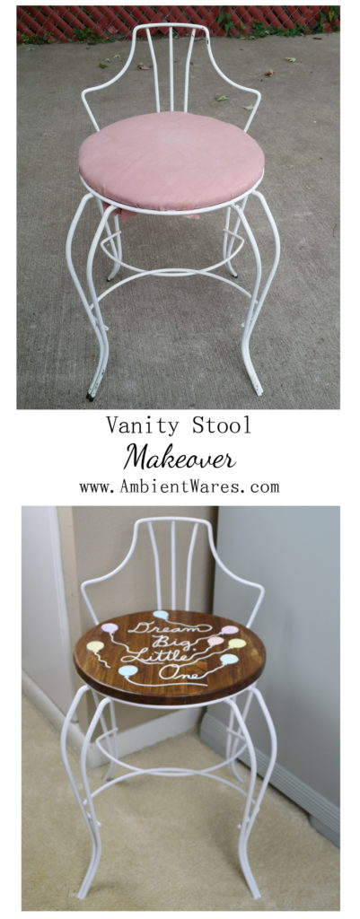 The cutest white vanity chair gets an even cuter makeover! It's the perfect little kid's chair! For more inspiration visit AmbientWares.com