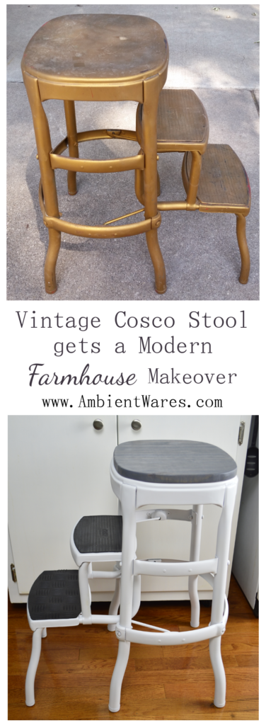 This Vintage Cosco Step Stool got a gorgeous modern farmhouse styled makeover! A great trash to treasure project!