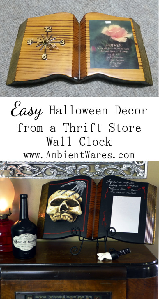 Have you seen what she did with this old thrift store clock? She added it to her creepy Halloween home decor collection! For this and more unique diy ideas, visit AmbientWares.com!