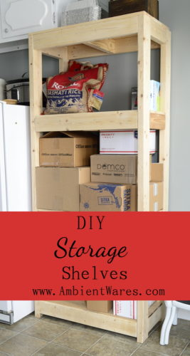 If you need extra storage, consider building your own shelving unit. Customization is a neccesity in our small home. To see this and other DIY projects, visit AmbientWares.com #diyshelvingunit #palletwoodproject #2x4shelving