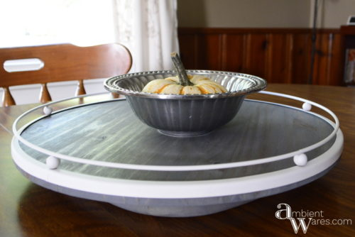 Not only is this Lazy Susan beautiful, it's made using a salvaged glass table lamp trim piece and a scrap piece of wood! AmbientWares.com