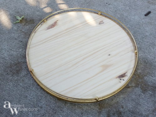 Not only did this this Lazy Susan turn out beautiful, it's made using a salvaged glass table lamp trim piece and a scrap piece of wood! AmbientWares.com
