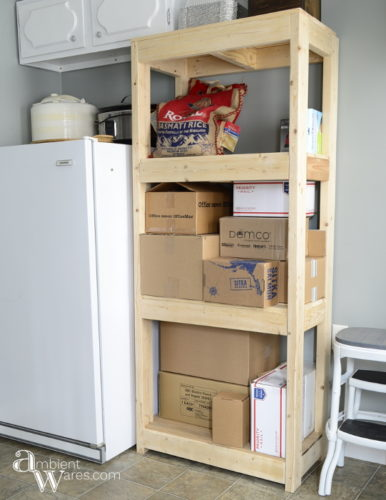 If you need extra storage, consider building your own shelving unit. Customization is a neccesity in our small home. To see this and other DIY projects, visit AmbientWares.com